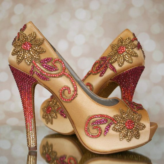 Custom Wedding Shoes -- Gold Platform Peeptoe Custom Wedding Shoes with Gold Glitter Sole and Gold Coral and Fuschia Ombre Heel and Applique