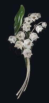 Lily of the Valley brooch, white gold 750,  octagonal diamonds, total weight ca. 0,15 ct, blossoms of cut rock crystal, leaf of nephrite,