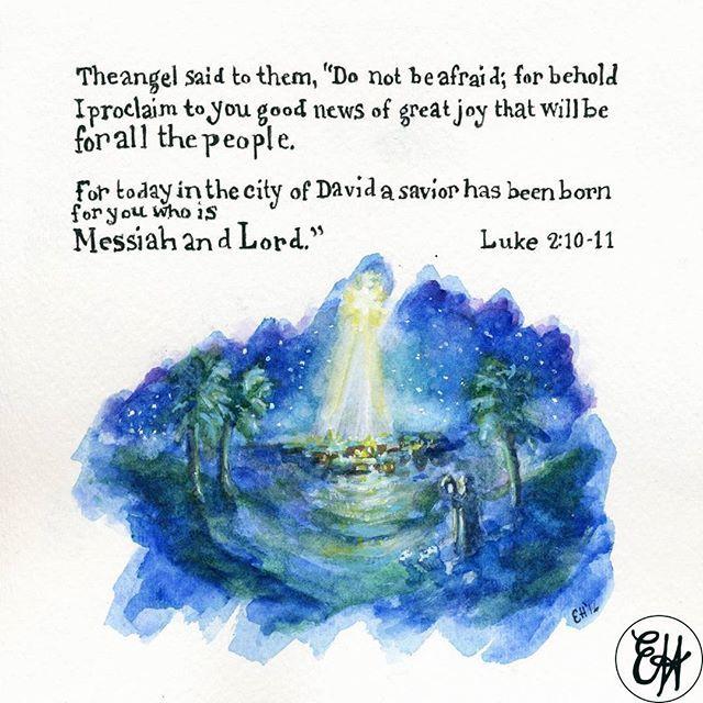 #25daysofChristmas . . . #christmas #holiday #december #festive #holidayseason #believe #celebrate #luke #gospel #nativity #tistheseason #watercolor #painting #art #bible #faith