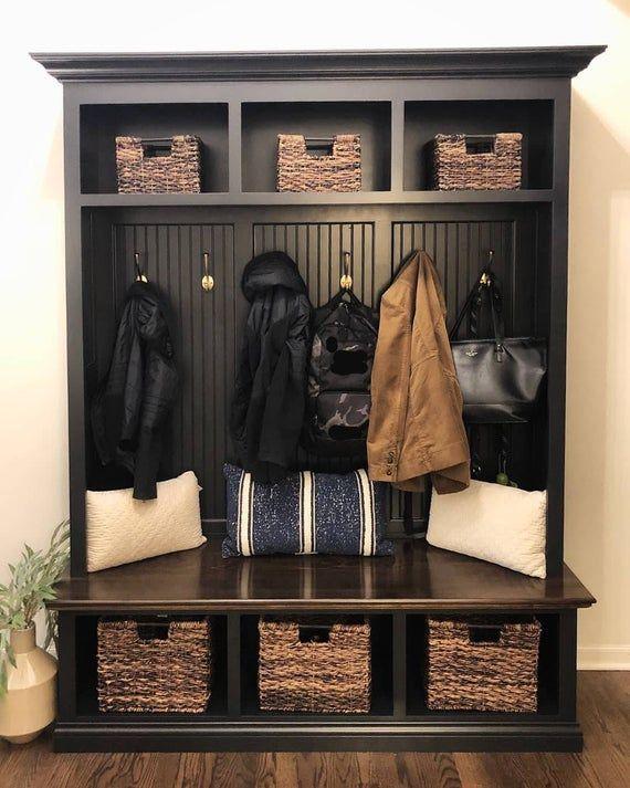 The Dublin Black Mudroom Lockers Bench Storage Furniture Etsy Mudroom Lockers Bench With Storage Hall Tree