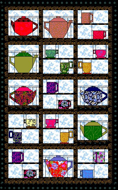 Free quilt pattern for Cup Quilt Two - a paper foundation pieced quilt with teapots, cups and mugs