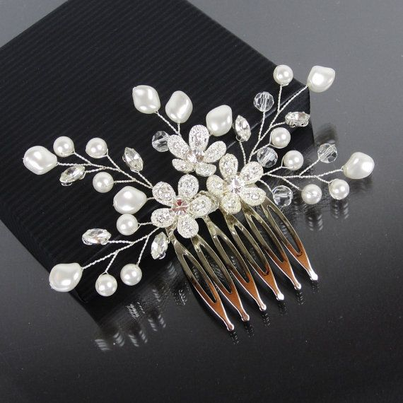 Bridal Hair Comb AUBREE Hair Comb Bridal by adrianasparksacc, $49.00