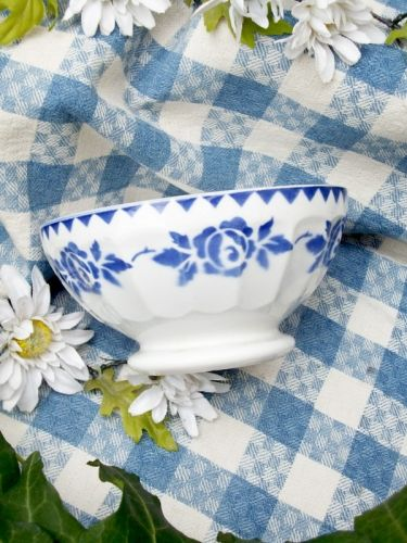 Ancien bol à facette guirlande de fleurs bleue 1950