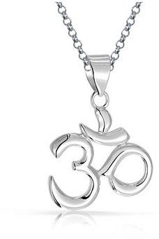 Bling Jewelry Om Aum Yoga Pendant Sterling Silver Necklace 18 Inches.