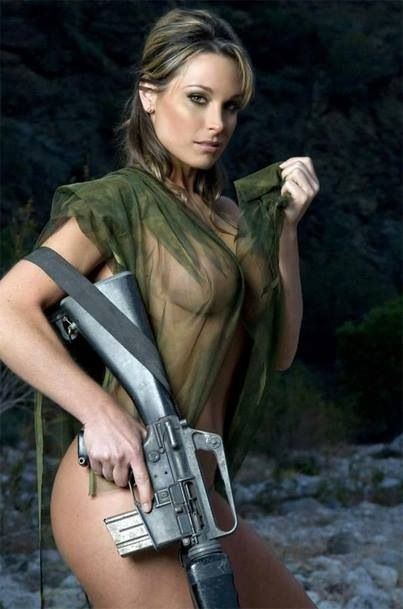 Hot Army Girl With An M16 Assault Rifle