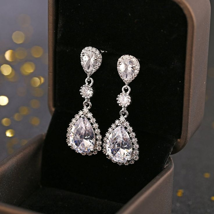 Teardrop Dangle Earrings for Wedding – Classic Silver Zircon Cubic Crystal Rhinestone Drop Earrings Pierced Austrian Style Hypoallergenic Earrings Womens Bridal Jewelry -- Check this awesome product by going to the link at the image. (This is an affiliate link) #ILoveJewelry