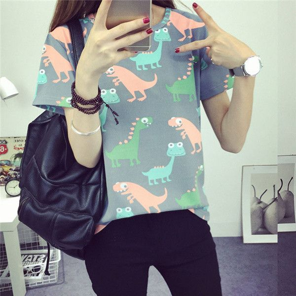 2017Korean Retro Animal Dinosaur Printing T shirt Women Summer Japanese Harajuku Style Short-sleeved T-shirt Woman Tops
