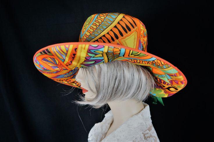 60s Floppy Hat / Vng 60s Psychedelic Floppy Hat / 60s Neon Mod Big Brim Hat / Hippie Paisley Psychedelic Floppy Hat / Designer Hippie Hat by HippieGypsyBoutique on Etsy