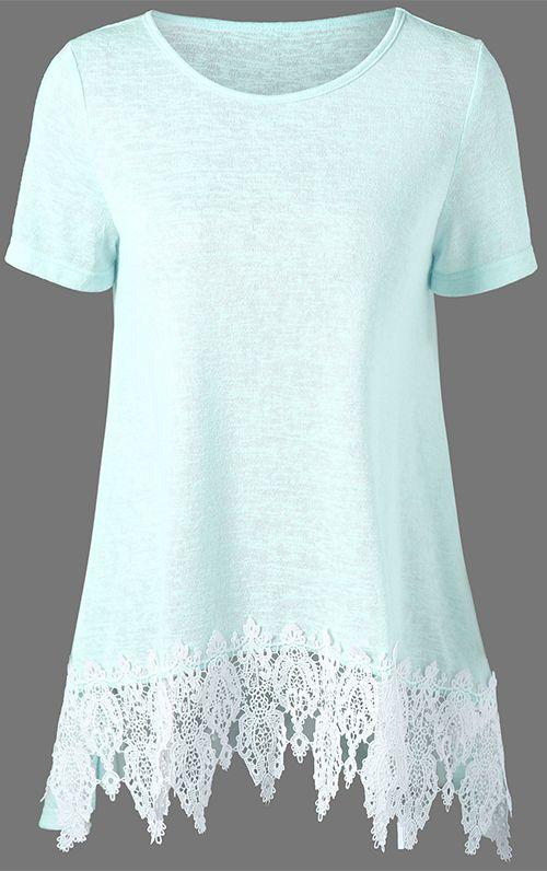 Lace Hem Longline Tunic T-Shirt