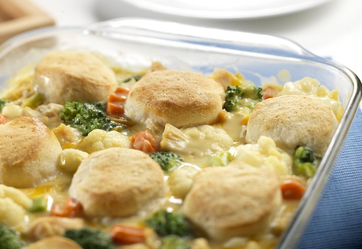 Pressed for time?  This delectable casserole has everything you're looking for, chicken, veggies, biscuits, and a cheesy creamy sauce, ready to serve in just 45 minutes!