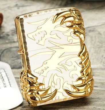 Double-sided relief double dragon gold claws Lighter with logo box //Price: $52.00 & FREE Shipping //     #hashtag4