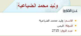 الشيخ وليد الضباعية #اليمن  https://www.google.com.eg/search?q=%D8%A7%D9%84%D8%AF%D9%83%D8%AA%D9%88%D8%B1+%D9%88%D9%84%D9%8A%D8%AF+%D8%A7%D9%84%D8%B9%D9%84%D9%8A&ie=utf-8&oe=utf-8&gws_rd=cr&ei=0NPRVsM3ic9rsZeWSA#q=%D8%A7%D9%84%D8%AF%D9%83%D8%AA%D9%88%D8%B1+%D9%88%D9%84%D9%8A%D8%AF+%D8%A7%D9%84%D8%B9%D9%84%D9%8A&tbm=vid  http://new.sadaislam.com/quran/mushaf/670