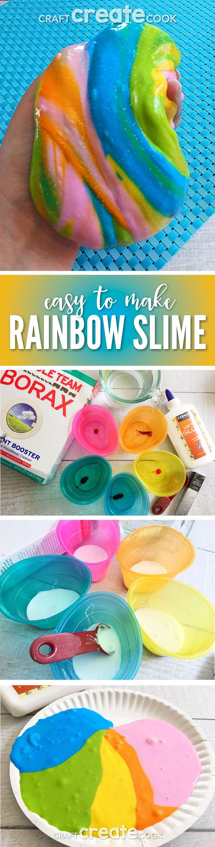 Our Glittered Rainbow Slime is easy to make and fun for the whole family to