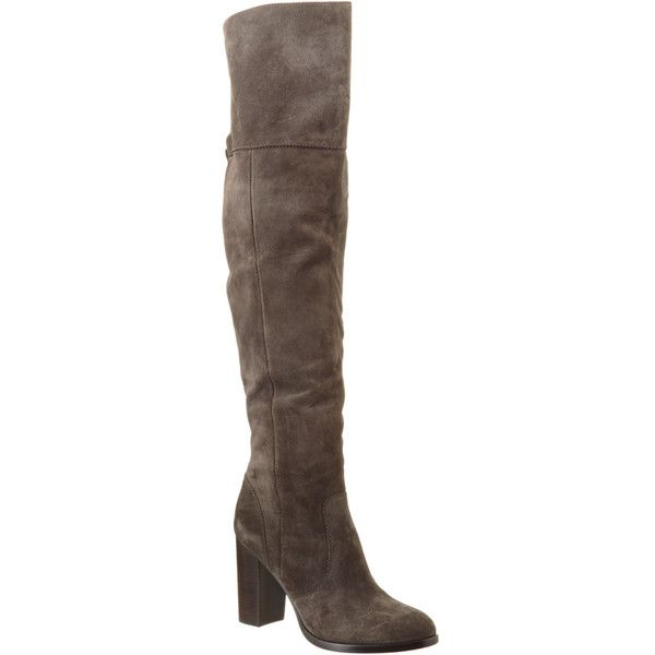 Frye Women's Claude Suede Over-The-Knee Boot ($250) ❤ liked on Polyvore featuring shoes, boots, grey, over-the-knee boots, frye boots, gray suede boots, gray suede over the knee boots, faux suede boots and over-knee boots