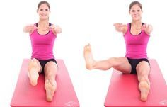 Übung 6: Großes L - Problemzone Beine? Die besten Übungen für schlanke Oberschenkel - Setzt euch mit ausgestreckten Beinen gerade auf den Boden. Streckt die Arme auf Schulterhöhe nach vorn aus. Löst jetzt das rechte Bein mit gestrecktem Fuß ein paar Zentimeter vom Boden...