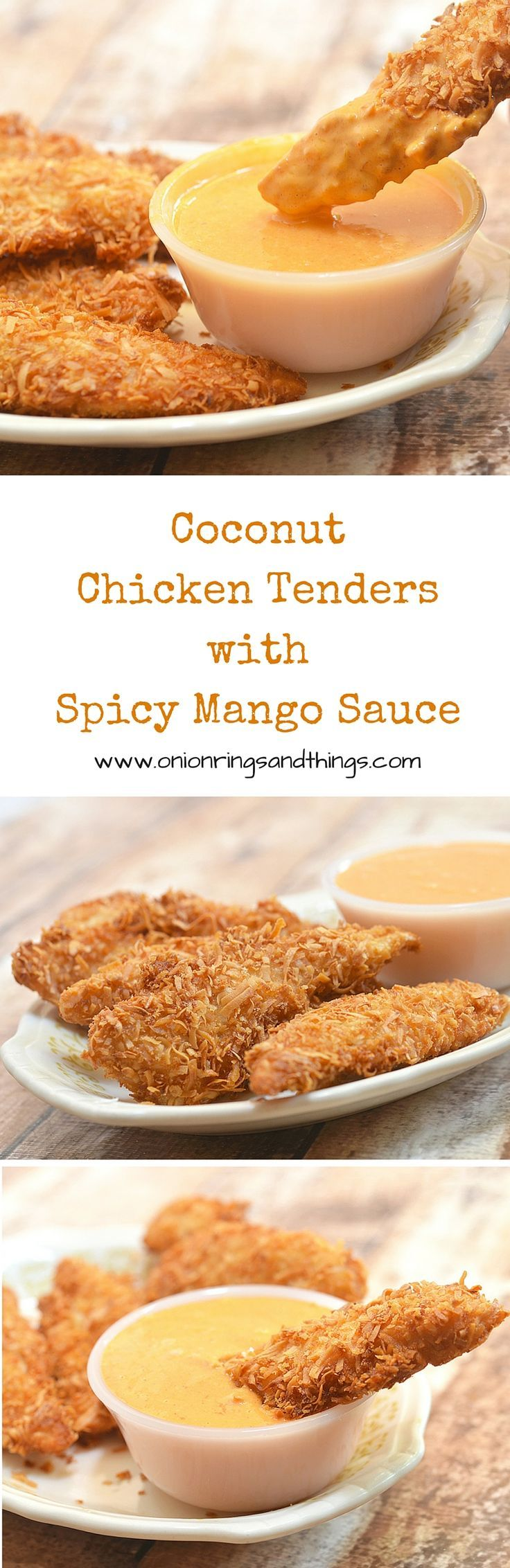 Golden, ultra flavorful and amazingly crunchy, these coconut chicken tenders are absolutely addicting! Served with a spicy mango sauce, you'll be hard pressed to resist!