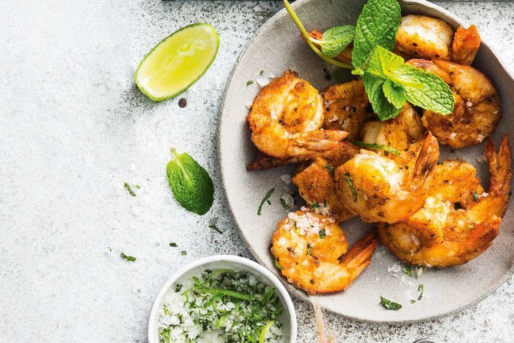 Chilli-spiced prawns with lime and mint salt