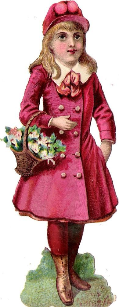 Oblaten Glanzbild scrap die cut chromo Kind child  17cm  fille girl lady Dame