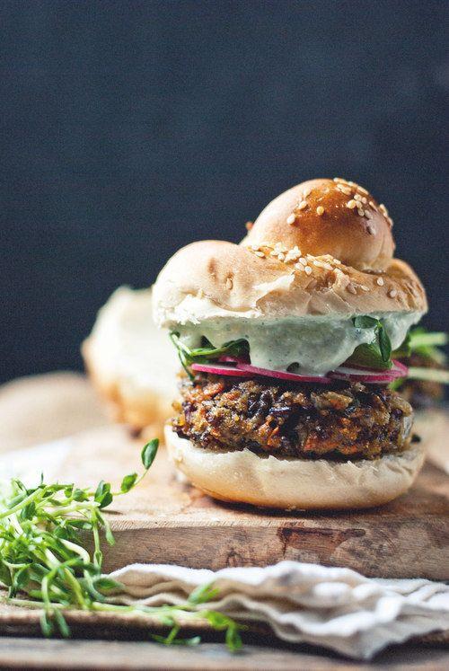 Black Rice and Mushroom Burgers with Cucumber Garlic Dressing