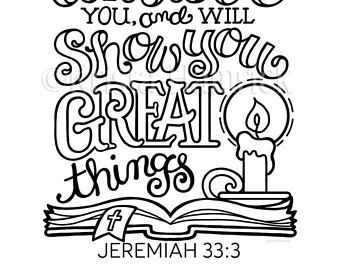 I Will Show You Great Things coloring page in two sizes: 8