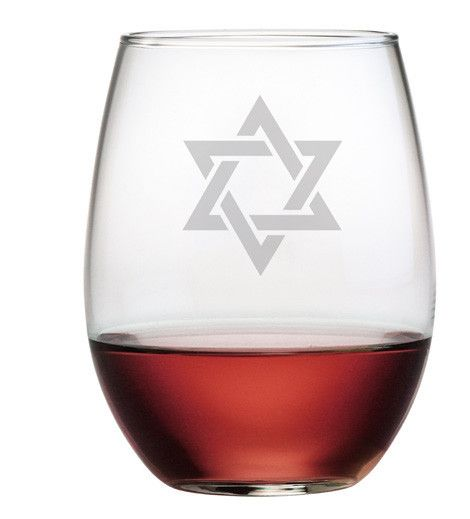 The Star of David is hand etched on these stemless wine glasses, makes a unique gift.