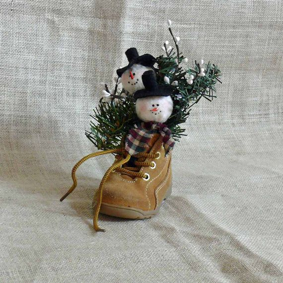 Small Snowman Baby Shoe Decoration by SnowmanCollector on Etsy