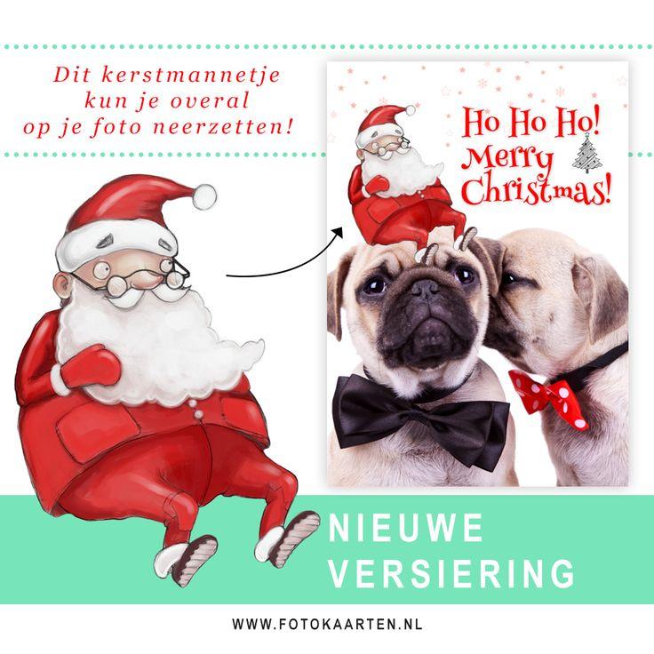 Plaats dit kerstmannetje op je foto en bestel je kerstkaarten (nu het nog kan!). Bij Fotokaarten kun je zelf je kerstkaarten in elkaar knutselen met een online programma. Het is heel eenvoudig! Ook dit jaar zijn er weer allerlei nieuwe versieringen toegevoegd.