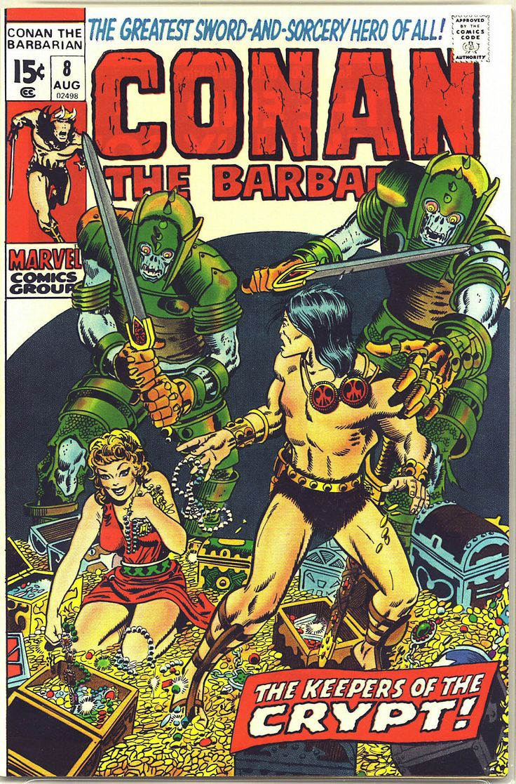 cover art by Barry Windsor-Smith for Conan the Barbarian # 8, published by Marvel Comics, August 1971.