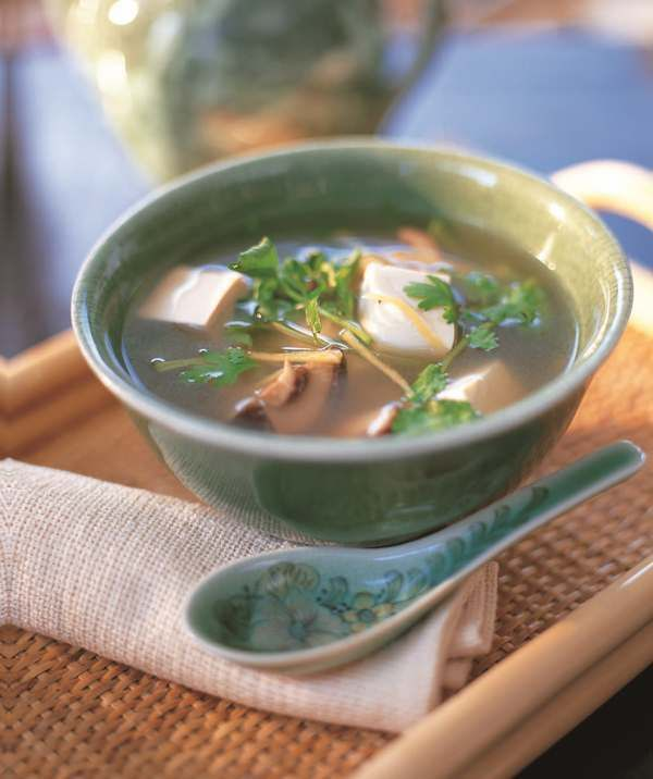 Clear Vegetarian Tofu Soup. From *Healthy and Simple Asian Recipes* Cookbook.