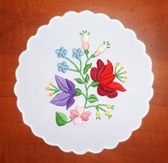 Traditional Hungarian Kalocsa embroidery doily on Etsy, $10.29 CAD