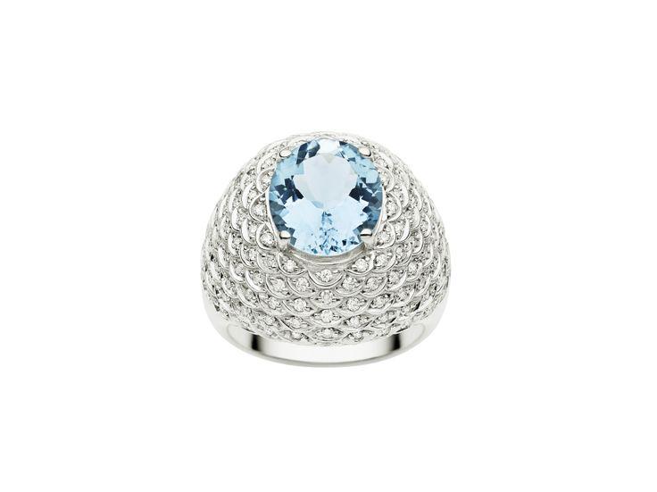 Jan Logan Aquamarine and Diamond 'Valencia' Ring