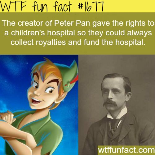 J.M. Barrie gave the rights of Peter Pan to the Children's Hospital on Great Ormond Street, London