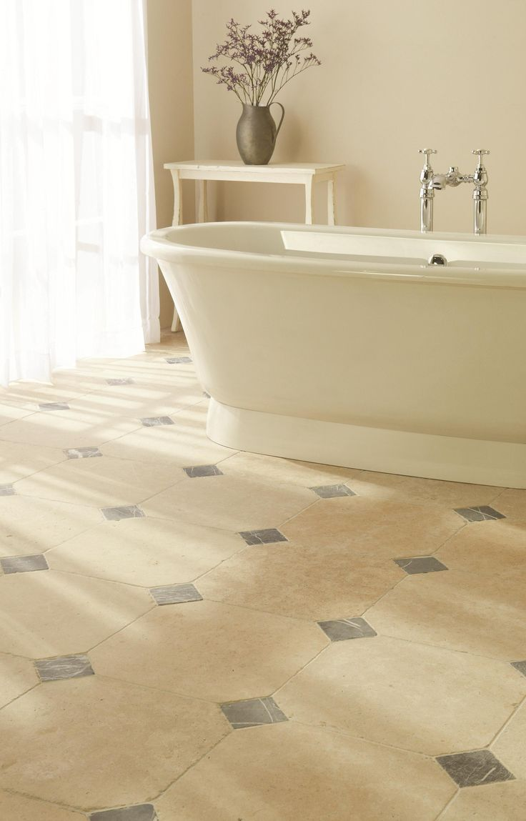 Natural stone bathroom tiles 25 off marshalls natural stone tiles -  Chalon Limestone Octagon Tiles Coupled With Nero Tumbled Marble Square Tiles Create A Striking