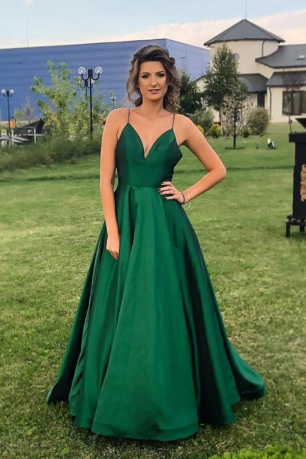 87abd53f65a Simple Sexy Dark Green Spaghetti Strap Backless Satin Prom Dress Custom  Made Long A-Line Evening Party Dresses Fashion Formal Dresses PD410