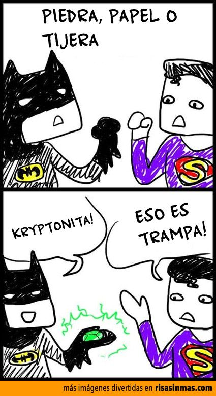 Batman jugando con Superman citas frases gráficas rock paper scissors