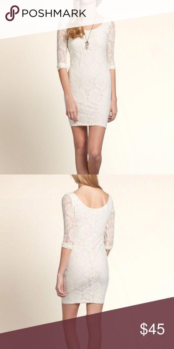 NEW Hollister cream lace dress medium Brand new with tags. Size medium. Lace mid-sleeve mini dress. Hollister Dresses Mini