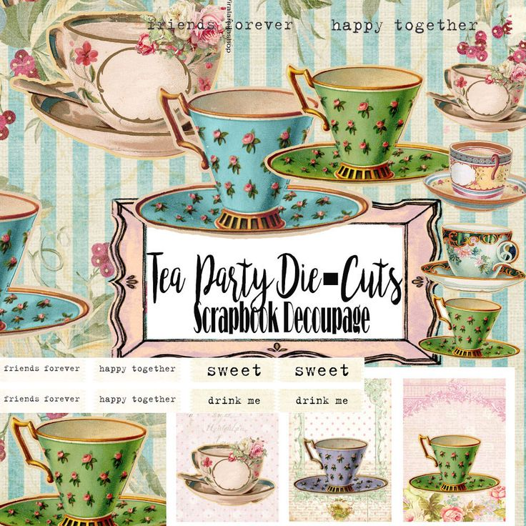 Vintage Alice Tea Party Die-Cut,Ephemera Paper,Journal Scrapbook Decoupage