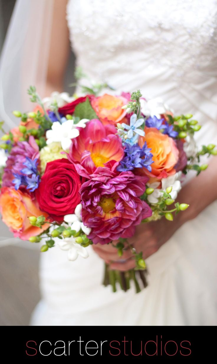 one of my very favorite bridal bouquets, blues, pinks, red, oranges