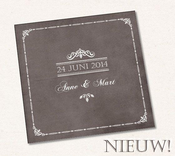 Trouwkaart met krijtbord effect {lekker trendy} - Pinterested @ http://wedspiration.com.