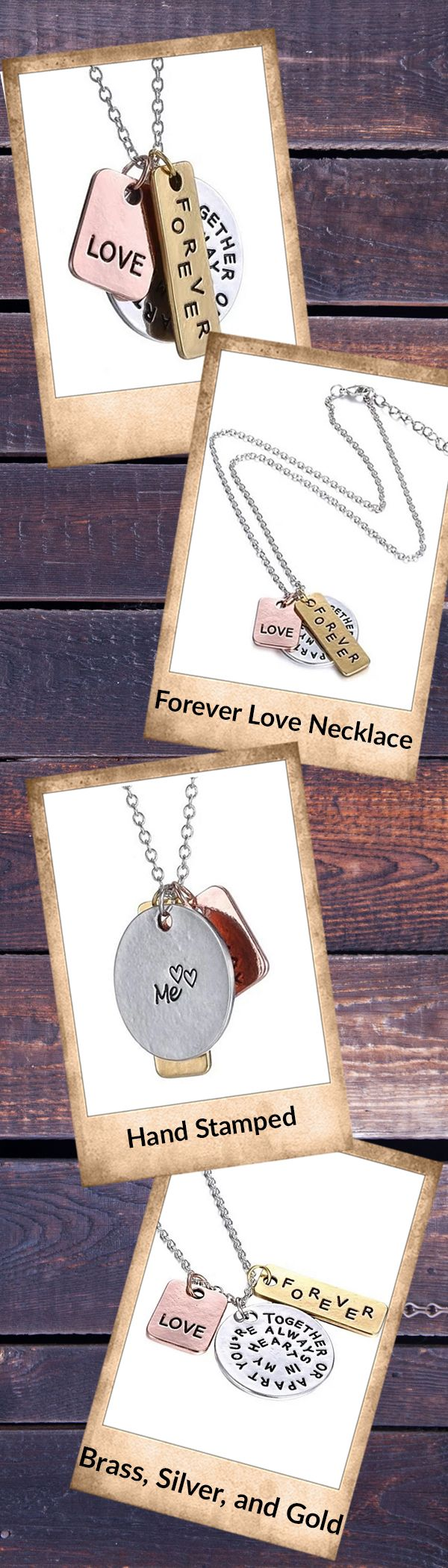 "Express your love with this gorgeous hand-stamped ""Forever Love"" necklace. Featuring 3 charms (brass, silver, and gold colored), this necklace would make a perfect gift for a loved one or for yourself!"