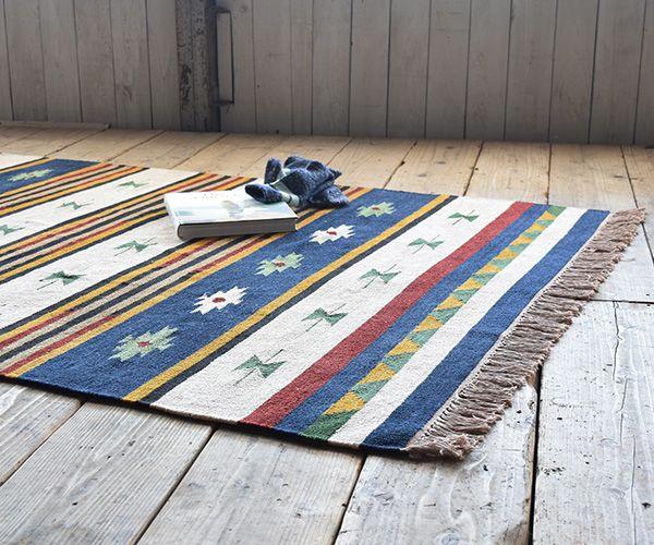 【楽天市場】ラグ キリム 90×130cm 3色 コットンラグ (ラグマット 北欧 ラグマット 夏用 ネイティブ キリム 平織り インド リビング…