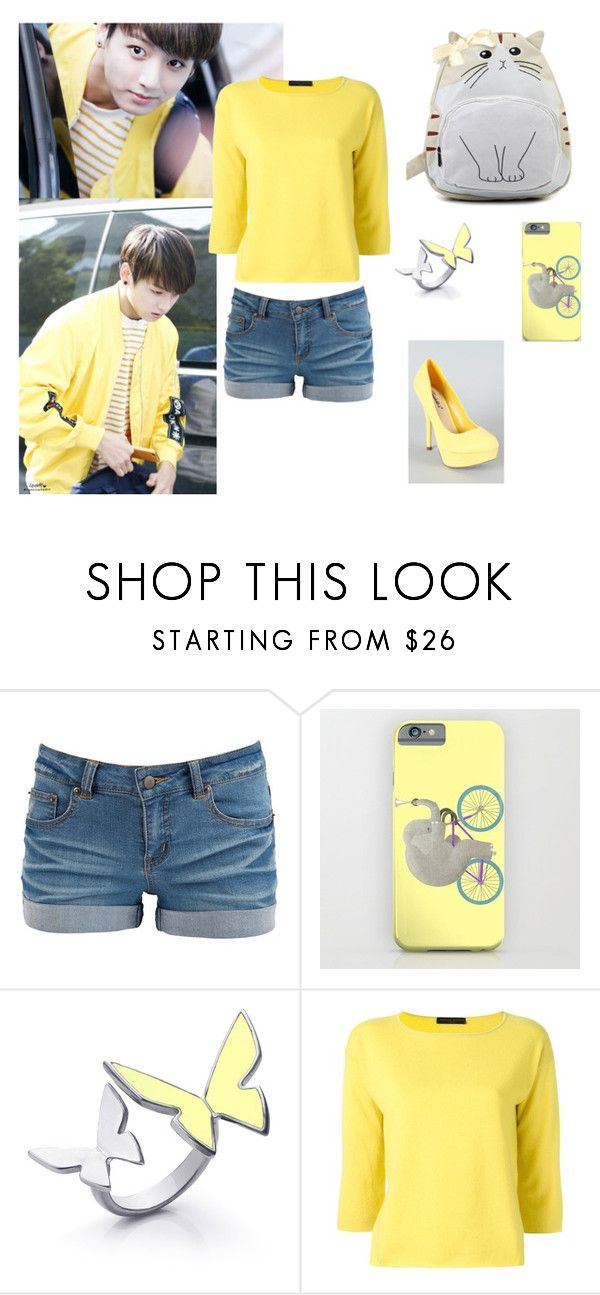 """""""Yellow And Jungkook"""" by yoonmin2725 ❤ liked on Polyvore featuring Pieces, Breckelle's and FABIANA FILIPPI"""