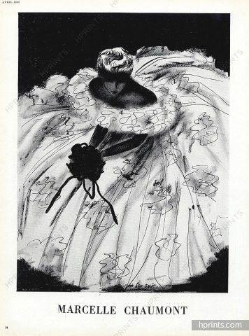 Marcelle Chaumont 1948 Simone Souchi Evening Gown Fashion Illustration