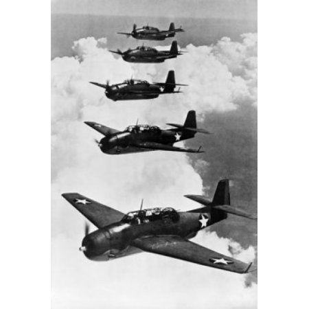 TBF Avenger bomber planes in flight Canvas Art - (18 x 24)