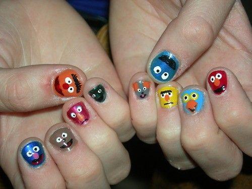 #nails: Sesame Street, Street Nails, Seasam Street, Nails Design, Nailart, Crazy Nails Art, Nails Polish, Muppets Nails, Cartoon Nails