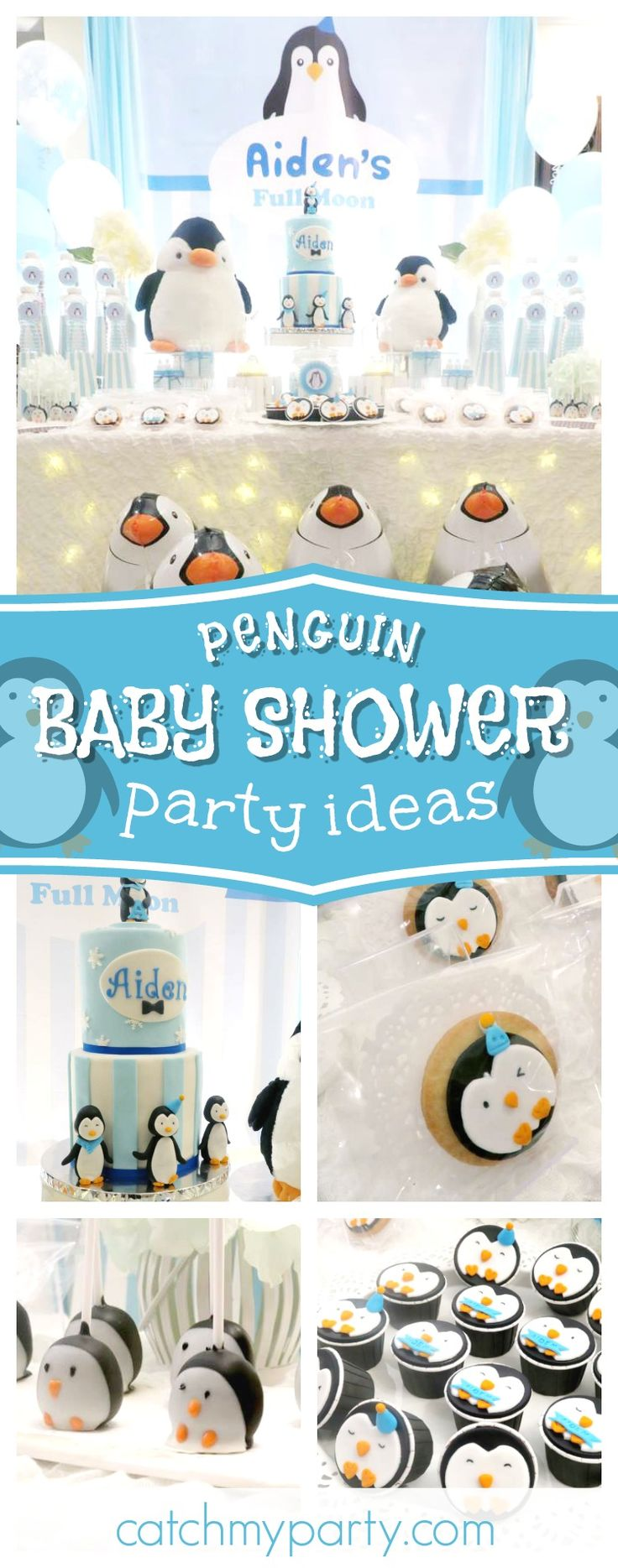 Take a look at this Full Moon Penguin Baby Shower! The cupcakes are adorable!! See more party ideas and share yours at CatchMyParty.com #babyshower #penguin