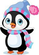 Clipart of Cute winter penguin k4659082 - Search Clip Art, Illustration Murals, Drawings and Vector EPS Graphics Images - k4659082.eps