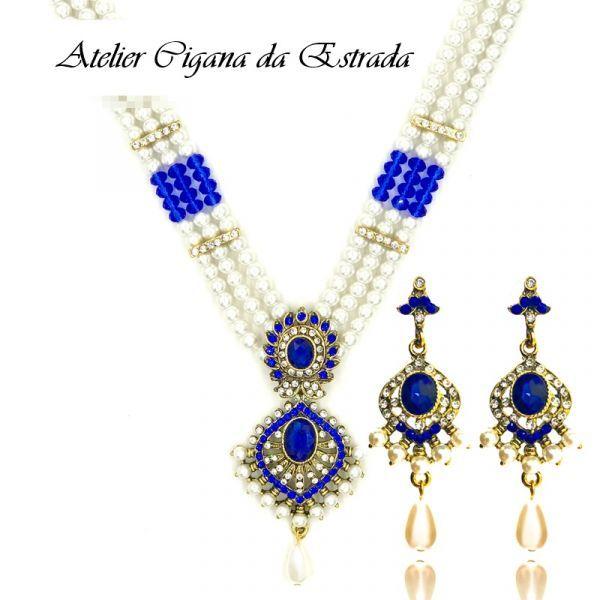 Conjunto Jóia Cigana Sarita 2Pçs #jóias #ciganas #importadas #colar #indiano #casamento #luxo #festa #15 #anos #15anos