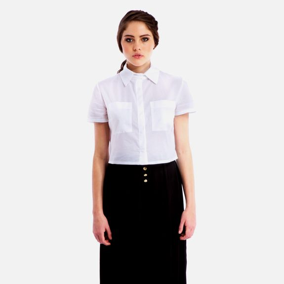 Black Eyed Susan - This is the Life Crop Shirt – White @ Superbalist