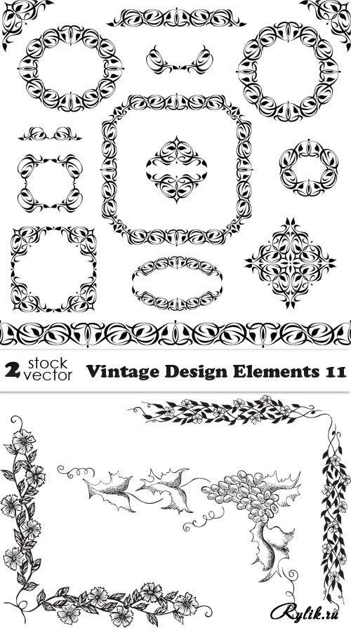 Винтажные элементы для декора в векторе - декоративные рамки, цветочные уголки
